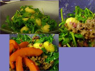 Ruccola-Gnocchi-Salat mit Hackfleisch-Sahne-Sauce und karamelisierten Kürbisspalten