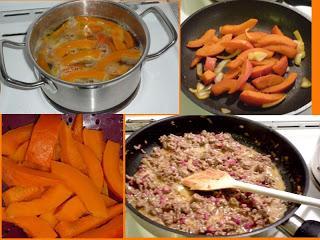 Zubereitung des Ruccola-Gnocchi-Salat mit Hackfleisch-Sahne-Sauce und karamelisierten Kürbisspalten