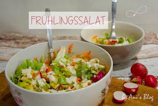 knackiger Frühlingssalat mit Möhren, Radieschen und Joghurtdressing