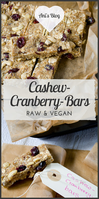 Cashew-Cranberry-Bars | raw | vegan | Rezept | Diese Energieriegel sind perfekt für nach den Sport oder für längere Fahrradtouren oder Wandertouren