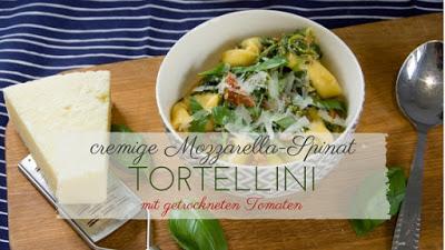 cremige Spinat Tortellini mit Mozzarellasauce