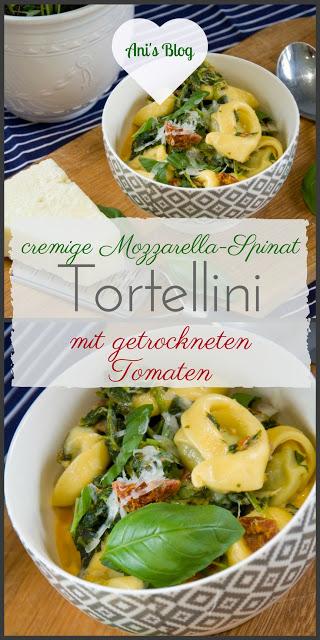 Vegetarische Feierabendküche: cremige Mozzarella Spinat Tortellini mit getrockneten Tomaten   Rezept   schnelles Mittagessen   schnelles Abendessen oder Lunch