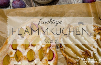 fruchtige Flammkuchen-Varianten mit Ziegenkäse, Zwetschgen, Birnen und Walnüssen