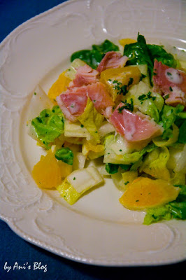 5 Zutaten Rezept mit Chicoree-Salat, Romana-Salat, Orange und Forellenfilet - schnelles Essen für den Feierabend