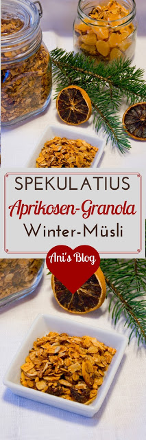 Spekulatius-Aprikosen-Granola ist ein im Ofengebackenes Müsli. Im Hintergrund Joghurt mit Granola.