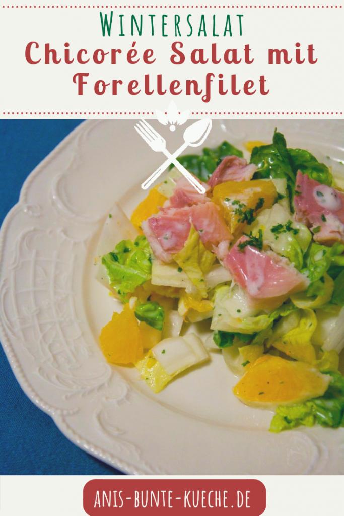 Chicorée Salat mit Orange und Forelle.