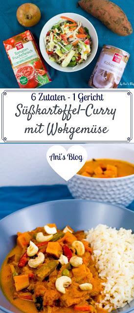Pinterestbild zum Merken des veganem Curry Rezept mit Süßkartoffel und Wok Gemüse und nur 6 Zutaten.