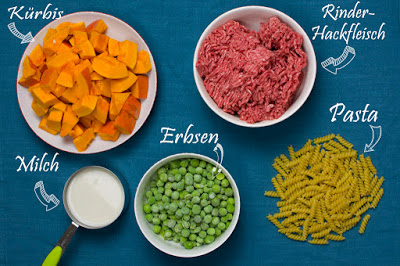 5 Zutaten Rezept: Hokkaido-Kürbis, Rinder-Hackfleisch, Milch, Erbsen und Spirelli-Nudeln