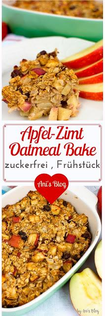 Pinterest Bild mit Apfel-Zimt Oatmeal bake und Überschrift Apfelzimt Oatmeal Bake zuckerfrei Frühstück