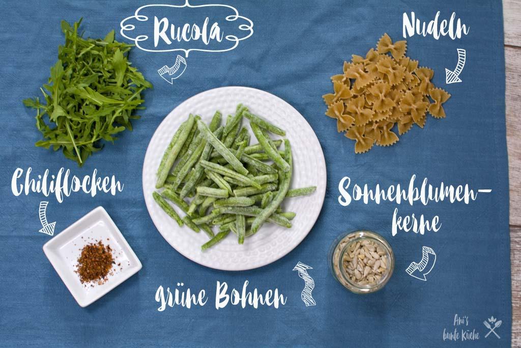 5 Zutaten Rezept - Rucola Pesto - Rucola, Nudeln, Sonnenblumenkerne, grüne Bohnen, Chili