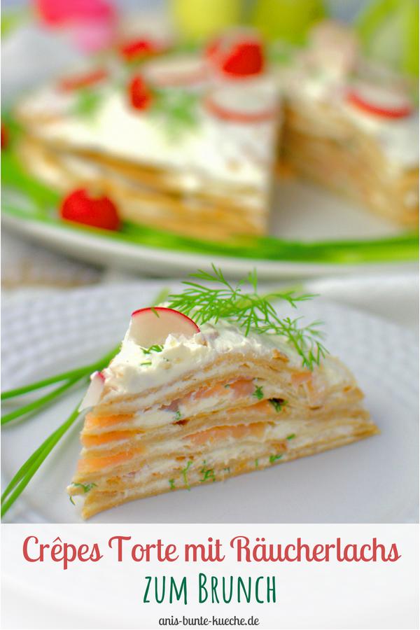 farbenfrohe Crepes Torte mit Lachs und Kräutern zum Brunch