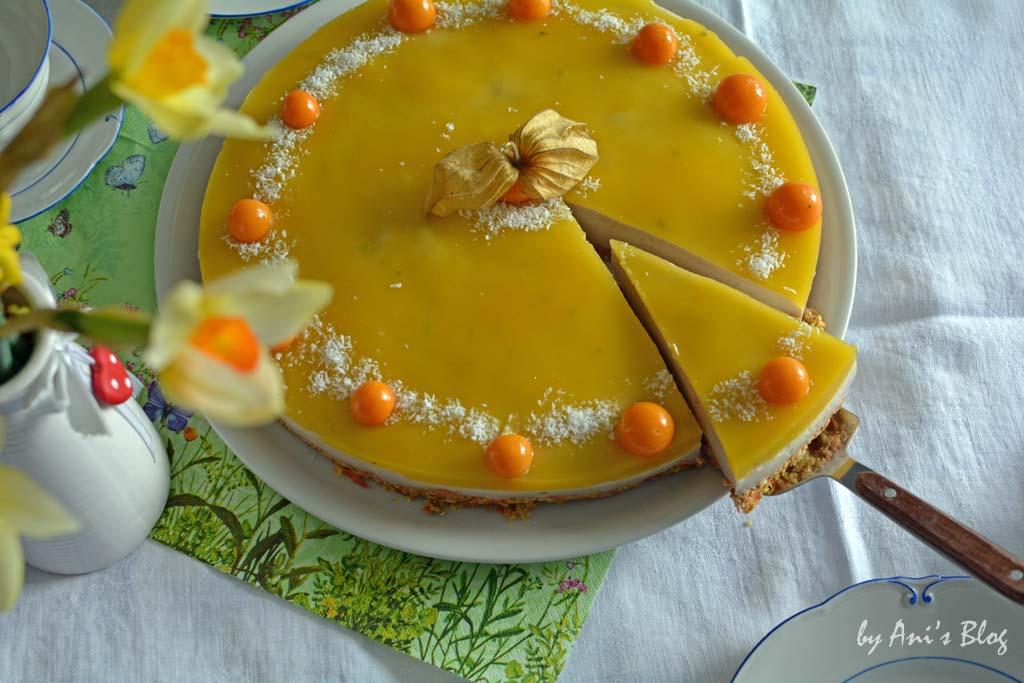 zuckerfreie Karotten-Buttermilch Torte mit Mangopüree