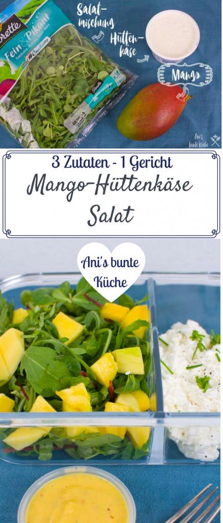 3 Zutaten Rezept für den Mango Salat mit Hüttenkäse und Mangodressing.