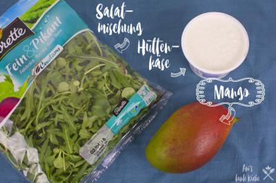 3 Zutaten für den Mango Hüttenkäse Salat - Mango, Hüttenkäse, Salatmix
