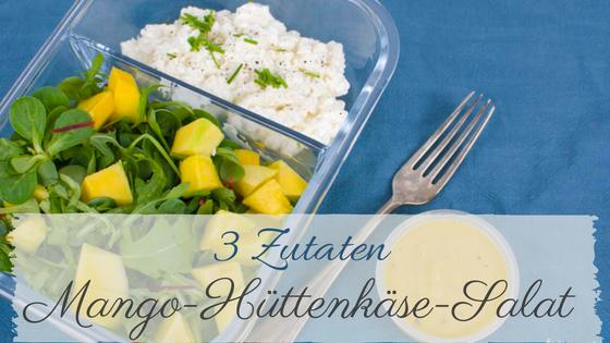 Nur 3 Zutaten brauchst du für den Mango Salat mit Hüttenkäse.