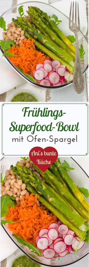 eine bunte Frühlings Superfood Bowl mit grünem Spargel und knackigem Frühlingsgemüse.