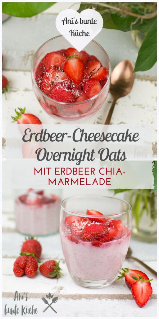Erdbeer-Cheesecake Overnight Oats mit Erdbeer Chia Marmelade ohne Zucker