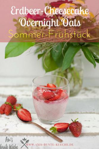Erdbeer-Cheesecake Overnight Oats mit Erdbeer Chia Marmelade zuckerfrei