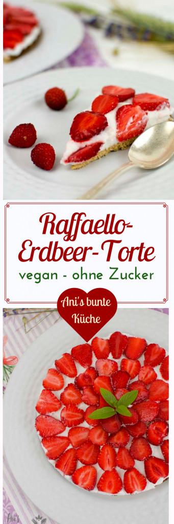 leckere Erdbeertorte mit Kokoscreme - schmeckt wie Raffaello nur ist sie vegan und zuckerfrei