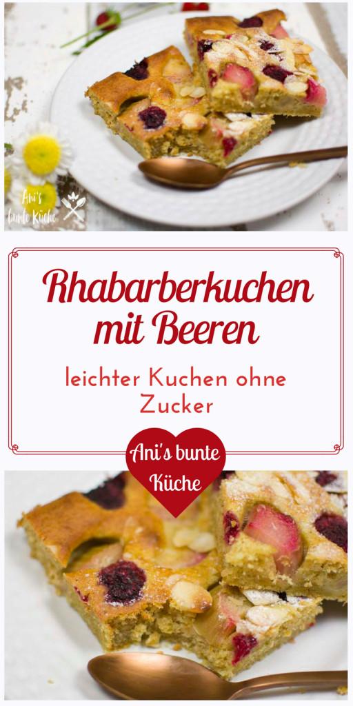 gesunder Rhabarberkuchen mit Himbeeren und Heidelbeeren