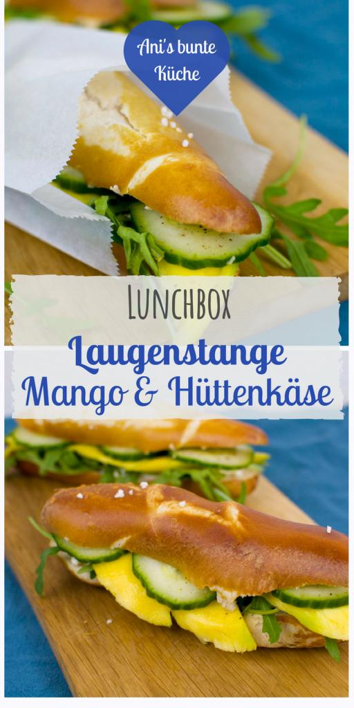 schnelles Rezept für die Lunchbox: Laugenstange mit Mango und Hüttenkäse.