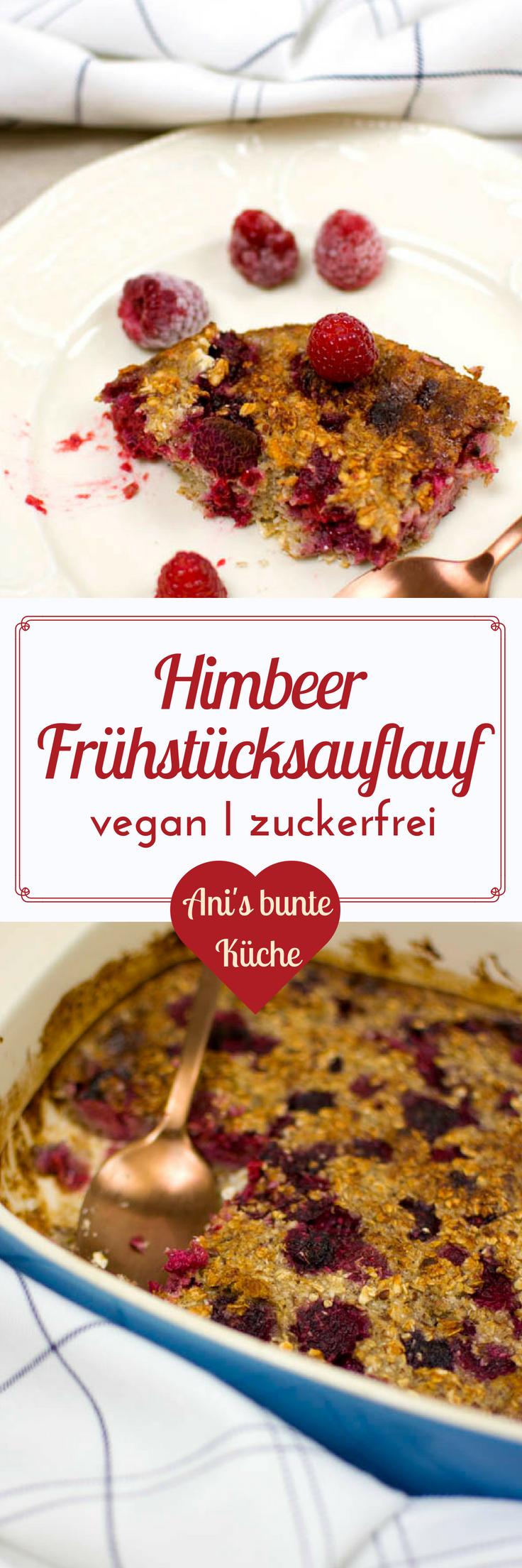 Himbeer Kokos Oatmeal Bake schmeckt wie Himbeerkuchen mit Streuseln zum Frühstück.