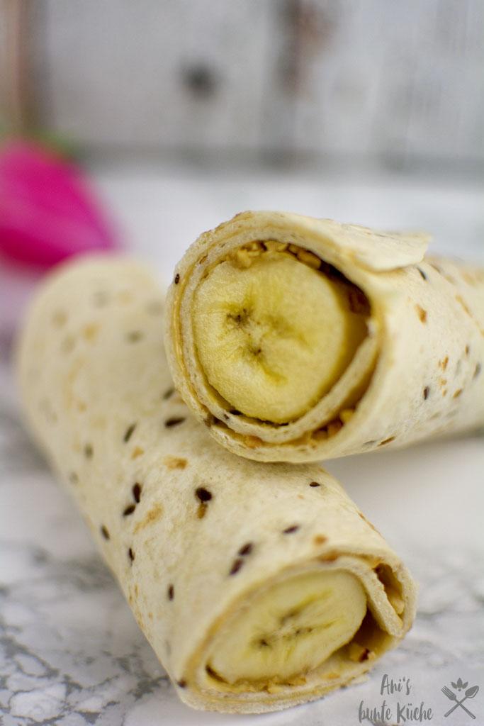Erdnussbutter Bananen Wraps zum Frühstück