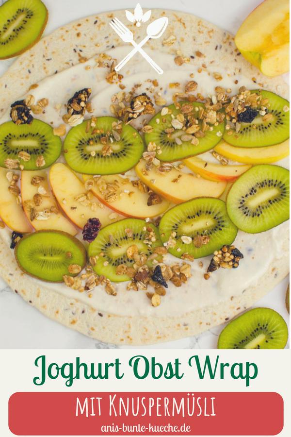 Frühstücks Wrap mit Kokosjoghurt, Kiwi und Apfel