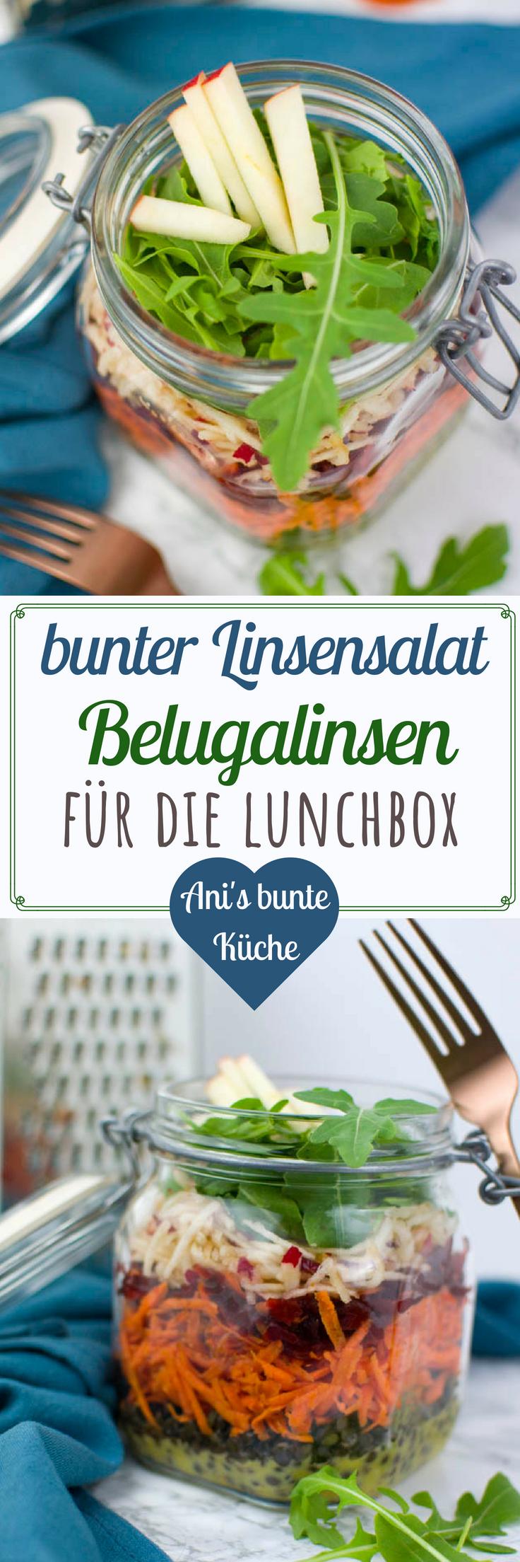 5 Zutaten Rezept -bunter veganer Linsensalat für die Lunchbox