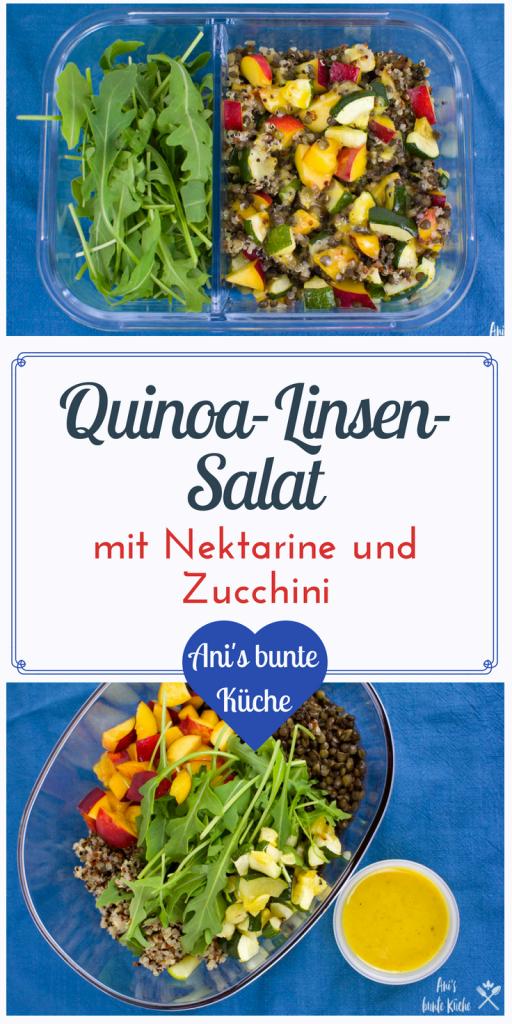 5 Zutaten Rezept: Quinoa Linsensalat mit Nektarine und Zucchini aus dem Ofen