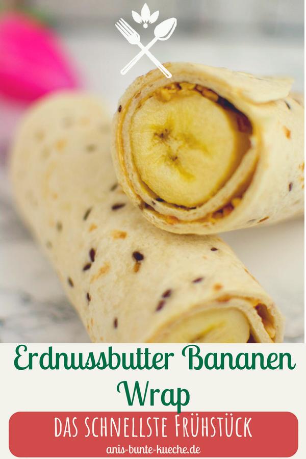 veganer Erdnussbutter Bananen Frühstücks Wrap