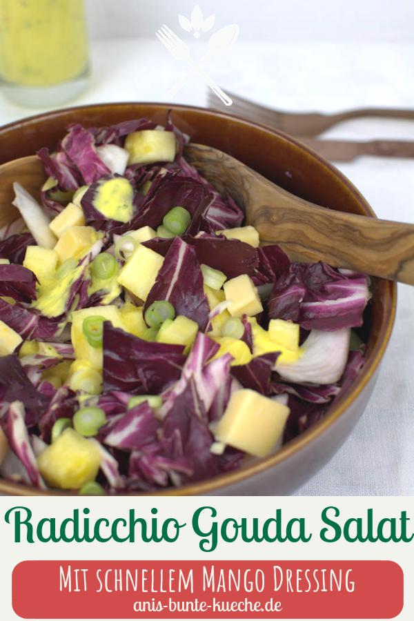 Leichter Radicchio Salat mit Gouda und Mango Dressing.