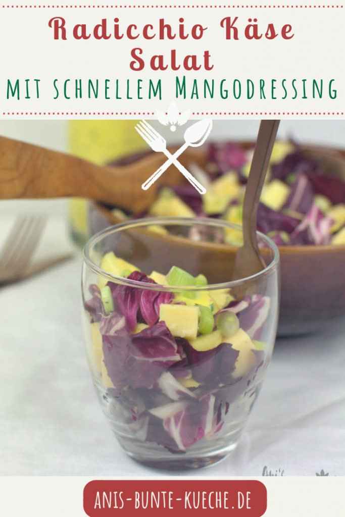 Radicchio Käse Salat mit Mango Dressing im Glas