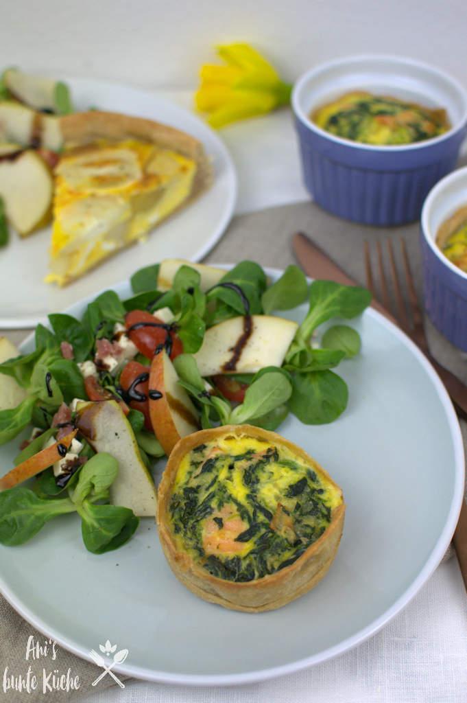 Lachs-Spinat Mini Quiche zu Ostern