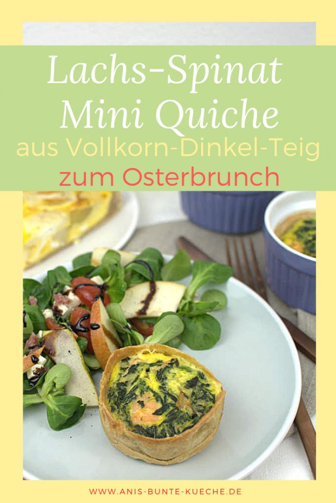 Lachs-Spinat Mini Quiche mit Vollkorn-Dinkelmehl zum Osterbrunch