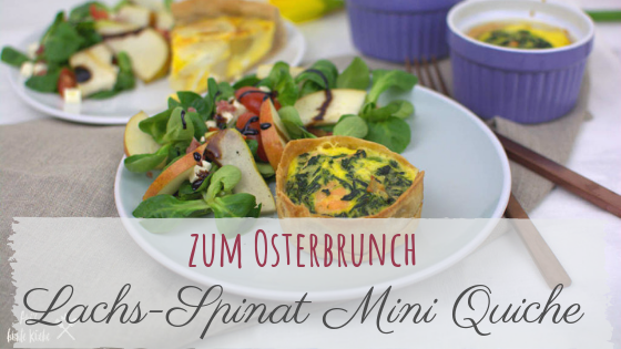 Lachs-Spinat Mini Quiche für den Osterbrunch