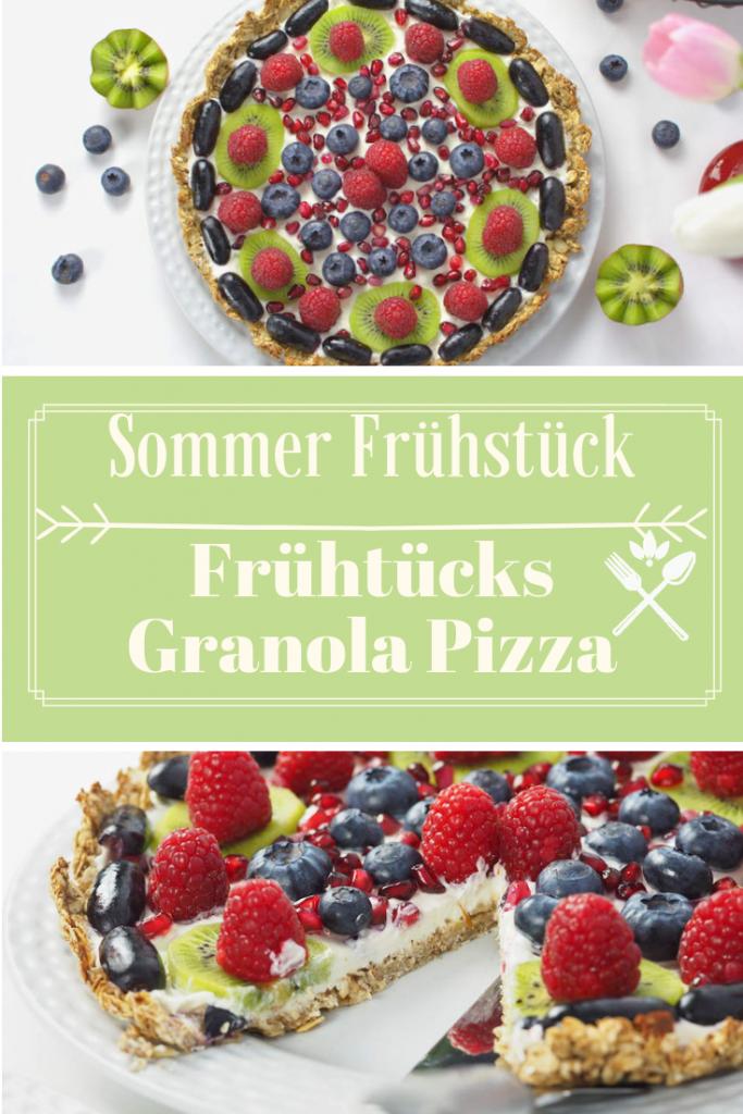 Sommer Frühstück Frühstücks Granola Pizza mit Skyr und Beeren