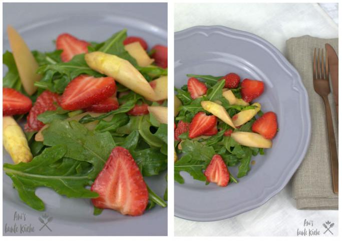 gebratener weißer Spargel mit Erdbeeren und Ruocla in einem Spargelsalat mit Erdbeeren