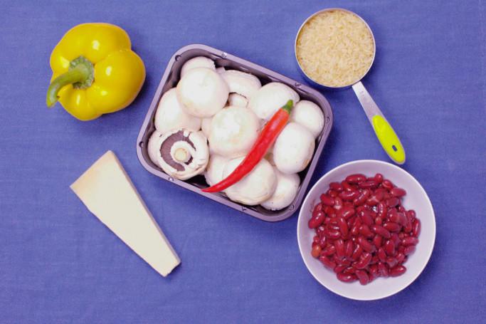 5 Zutaten Rezept - weißes Chili mit Pilzen und Kidneybohnen