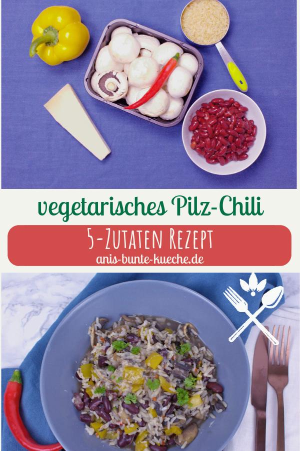 5 Zutaten Rezept vegetarisches Chili mit Pilzen