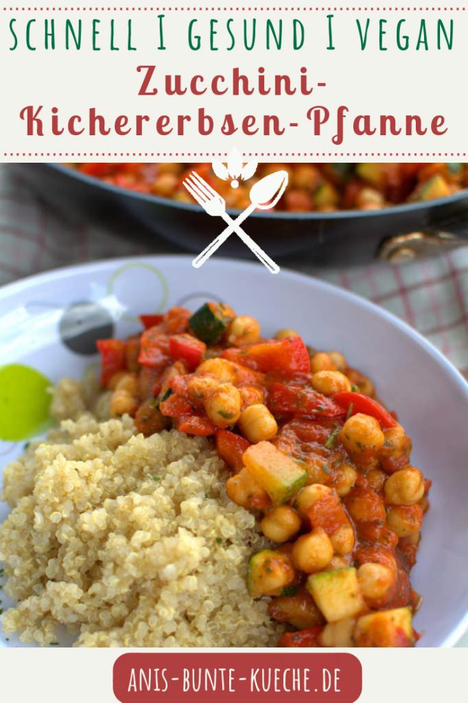 vegane Zucchini-Kichererbsen-Pfanne mit Quinoa