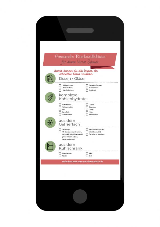 gratis Einkaufsliste mit gesunden Lebensmitteln