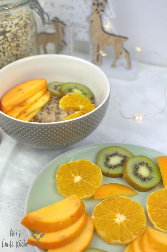 DIY Porridge gebrannte Mandeln mit Obst