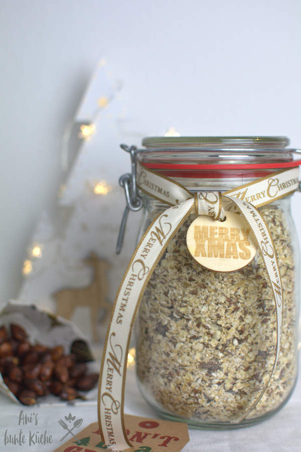 Geschenk im Glas aus der Küche: gebrannte Mandel Porridge