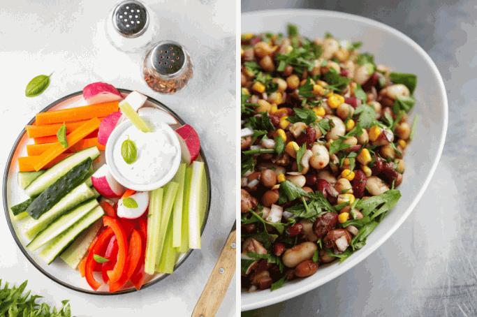 Gemüsesticks und Bohnen können am Anfang der Ernährungsumstellung schnell zu viel werden