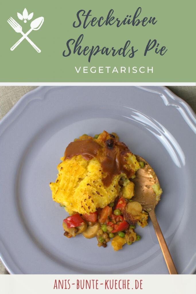 vegetarischer Shepards Pie mit Linsen und Steckrüben Püree.