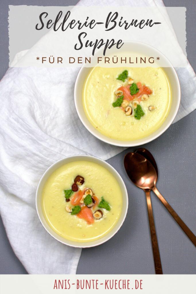 gesunde Sellerie-Birnen-Suppe im Frühling.