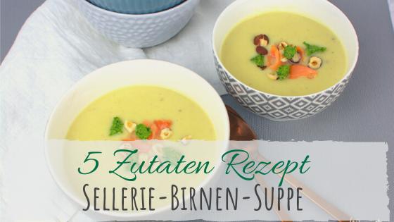 Rezept für eine feine Sellerie-Suppe mit Birnen, Pesto und Lachs.
