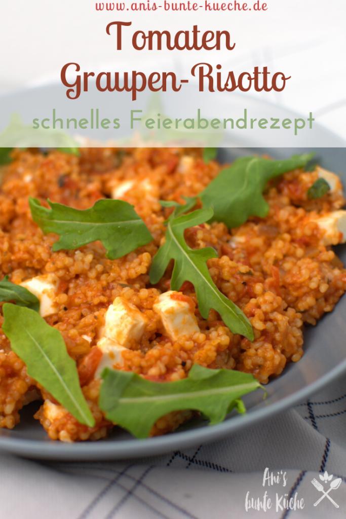 Graupen-Risotto mit Tomaten, Rucola und Feta