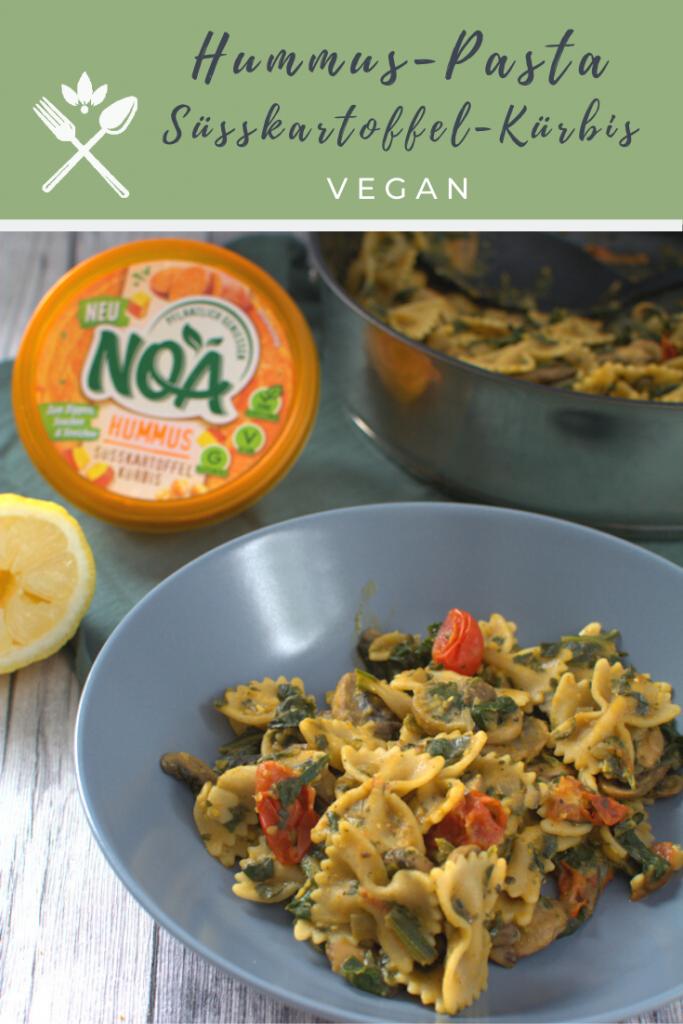 vegane Hummus-Pasta mit NOA Humms Süßkartoffel-Kürbis